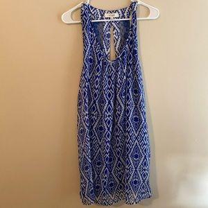 Umgee Boutique Patterned Shift Dress w Lace Back
